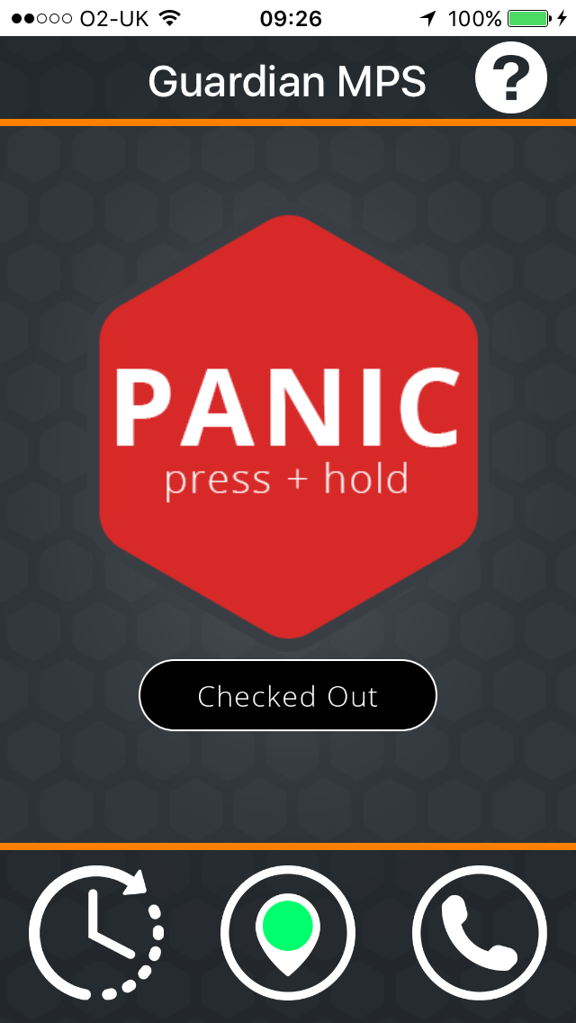 GuardianMPS iPhone app Main Screen with Press and Hold Panic Button